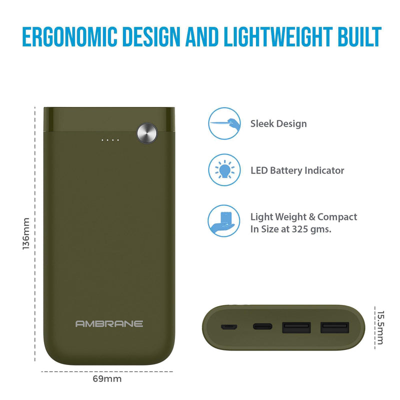 PP-150 15000 mAh Power Bank (Green) | Power Bank Price in India - AmbraneIndia