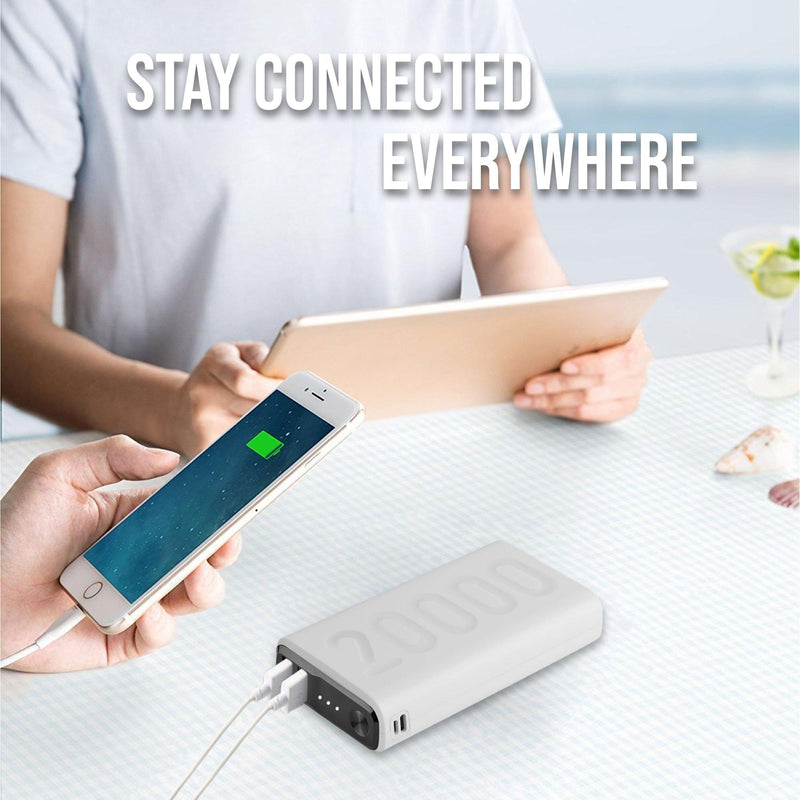 Ambrane 20000 mAh Lithium Polymer Power Bank (Stylo-20k, White) - AmbraneIndia