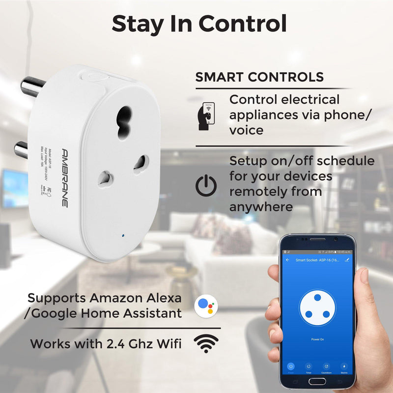 Ambrane WiFi Smart Plug 16A - Control Your Devices from Anywhere, No Hub Required, Works with Amazon Alexa and Google Assistant (ASP-16, White)