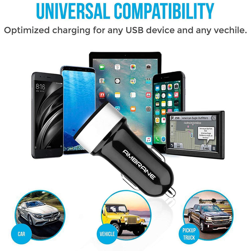 ACC-20 Swift 4.8A Dual Port Car Charger for All Smartphones + Free Micro USB Cable (Black)