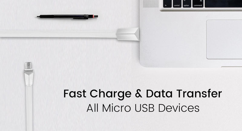 AAC-11 Micro USB Smart Flat Charging Cable 1 Meter (White)
