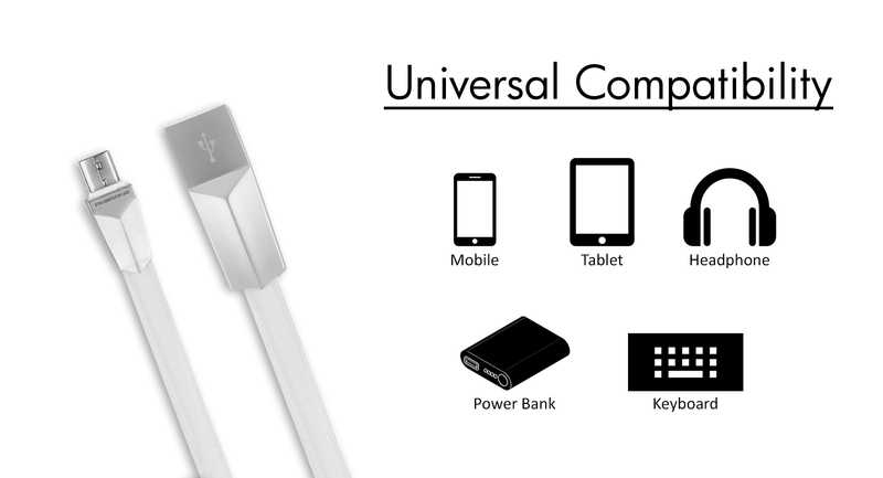 AAC-11 Micro USB Smart Flat Charging Cable 1 Meter (White) - Ambrane India Pvt Ltd