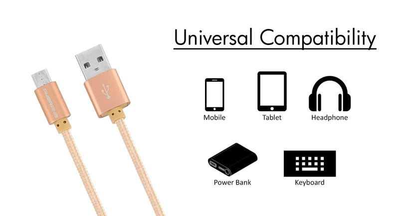 AAC-22 Micro USB Cotton Braided Charging Cable 1 Meter (Light Brown)