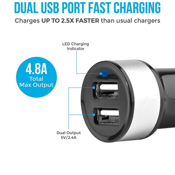 ACC-20 Swift Dual Port Car Charger 4.8A (Black) - AmbraneIndia