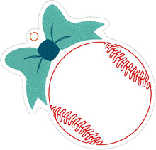 Baseball/Softball with Bow Eyelet Tag Ornament