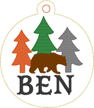 Bear and Trees Christmas Ornament for 4x4 hoops