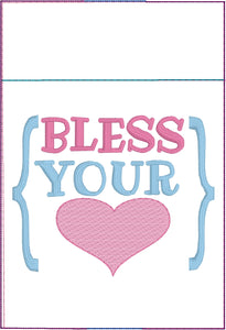 Bless Your Heart Pen Pocket In The Hoop (ITH) Embroidery Design