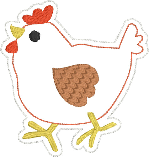 Chicken Feltie embroidery design