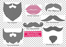 SET FOUR - Mustaches, Beards and Glossy Lips 4x4 Designs to add to fabric masks
