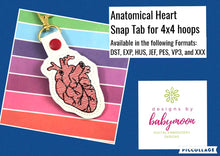 Anatomical Heart snap tab for 4x4 hoops