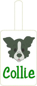 Collie Face Double Sided Luggage Tag Design for 5x7 Hoops