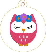 Cute Owl Christmas Ornament for 4x4 hoops