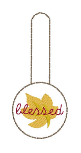 Blessed Fall Leaf Snap Tab In the Hoop Design Single for 4x4 hoops