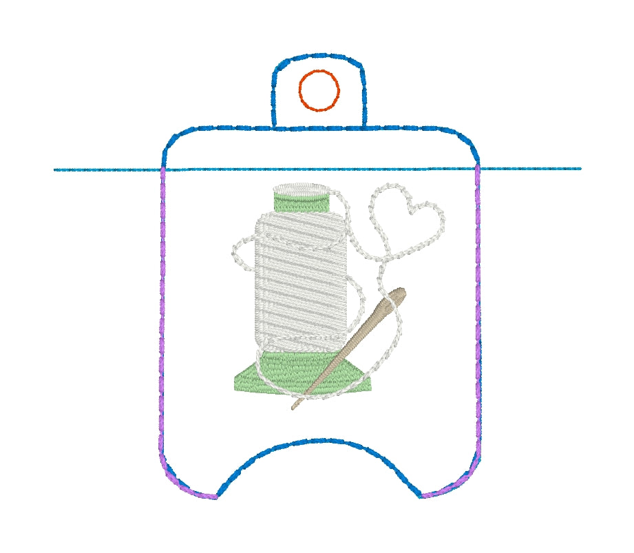 4x4 Sewing Love THREAD Hand Sanitizer Holder EYELET VERSION In the Hoop Embroidery Project
