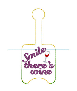 Smile There's Wine Hand Sanitizer Holder Snap Tab Version In the Hoop Embroidery Project 1 oz BBW for 5x7 hoops