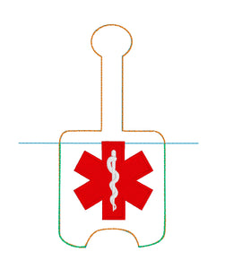 Star of Life Hand Sanitizer Holder for 2 oz Bottles Snap Tab In the Hoop Embroidery Project