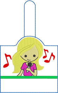 BLANK Singing Girl snap tab for NAMES for 5x7 hoops