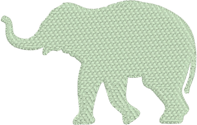 Elephant Silhouette Embroidery Design - Three Sizes 1.5