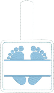 Baby Feet snap tab Diaper Bag Tag for 4x4 hoops