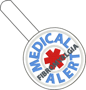 Medical Alert FIBROMYALGIA snap tab embroidery design