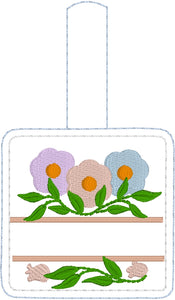 Split Floral snap tab Personalized Bag Tag for 4x4 hoops