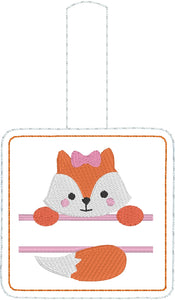 Baby FOX Boy and Girl Set snap tab Diaper Bag Tag for 4x4 hoops