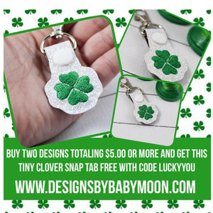 St Patricks Day Lucky Four Leaf Clover SINGLE tag snap tab