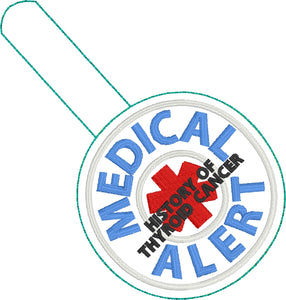 Medical Alert THYROID snap tab embroidery design