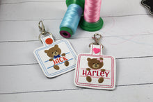 Baby Bear Boy and Girl Set snap tab Diaper Bag Tag for 4x4 hoops