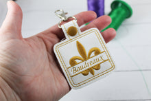 Fleur De Lis snap tab Personalized Tag for 4x4 hoops