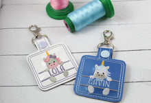 Baby Unicorn Boy and Girl Set snap tab Diaper Bag Tag for 4x4 hoops