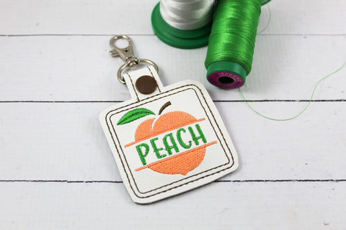 Peach snap tab Personalized Tag for 4x4 hoops
