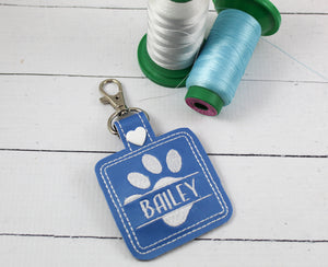 Split Pet Paw Personalized Bag Tag for 4x4 hoops