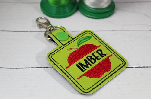 Apple snap tab Personalized Tag for 4x4 hoops