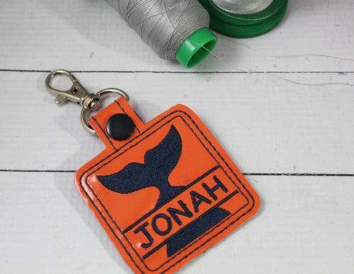 Whale Tail snap tab Personalized Bag Tag for 4x4 hoops