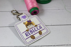 Horse snap tab Personalized Bag Tag for 4x4 hoops