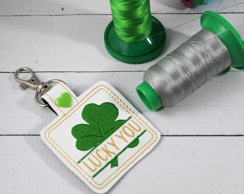 Split Shamrock snap tab Personalized Bag Tag for 4x4 hoops
