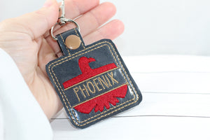 Firebird Phoenix Thunderbird snap tab Personalized Bag Tag for 4x4 hoops