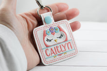 Cute Owl Personalized snap tab Tag for 4x4 hoops