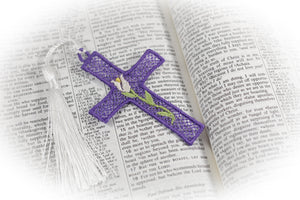 Easter Bloom Cross Freestanding Lace Bookmark for 4x4 hoops