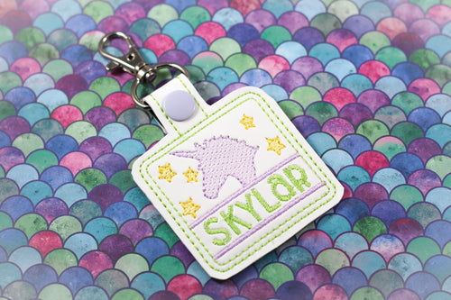 Unicorn and Stars Personalized Bag Tag for 4x4 hoops