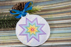 Rainbow Star Ornament for 4x4 hoops