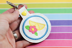 Lemon Floral snap tab -4x4 -Backpack tag embroidery design-ITH key fob tag