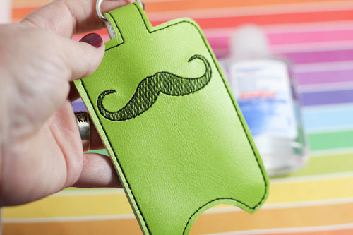 Mustache Hand Sanitizer Holder Snap Tab Version In the Hoop Embroidery Project 3 oz DT for 5x7 hoops