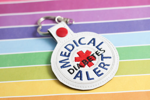 Medical Alert Diabetes snap tab embroidery design