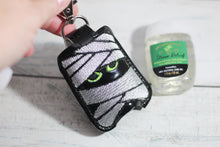 Mummy Hand Sanitizer Holder Snap Tab Version In the Hoop Embroidery Project 1 oz BBW for 5x7 hoops