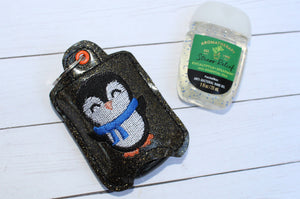 Penguin Hand Sanitizer Holder Eyelet Version In the Hoop Embroidery Project 1 oz BBW for 4x4 hoops