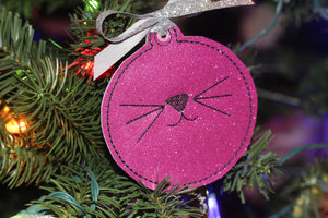 Cat Face Christmas Ornament for 4x4 hoops