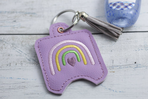 Rainbow Hand Sanitizer Holder Eyelet Version In the Hoop Embroidery Project 1 oz BBW for 4x4 hoops