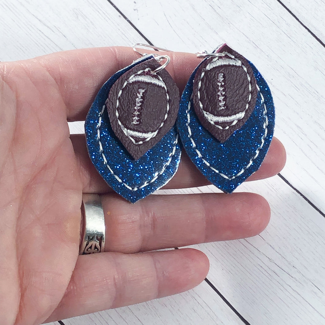 Football Stitching Layers Earrings and Pendant embroidery design for Vinyl and Leather